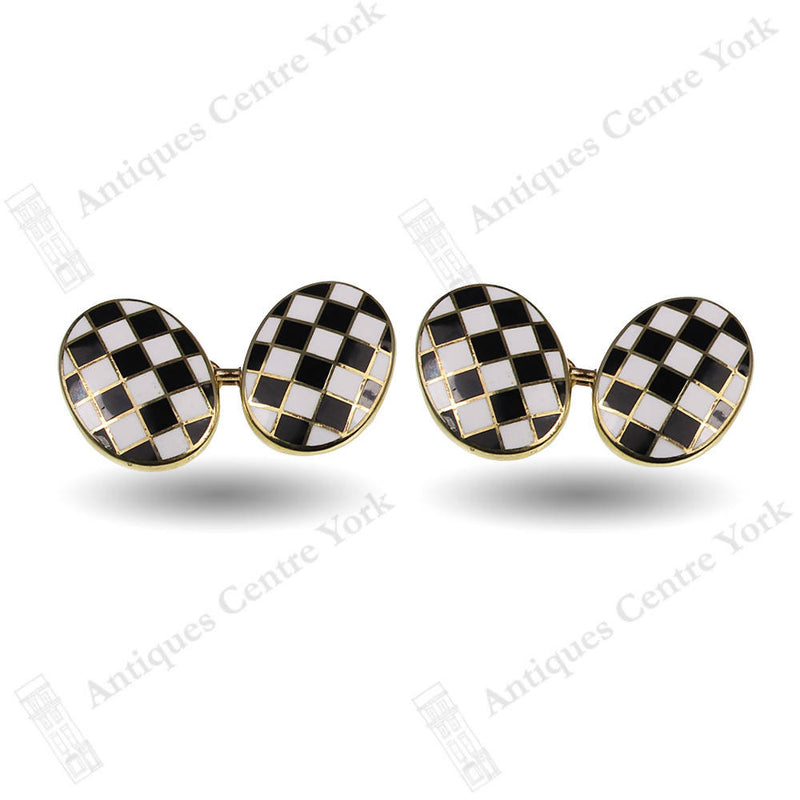 Fine Quality Silver Gilt & Enamel Chequered Flag Cufflinks
