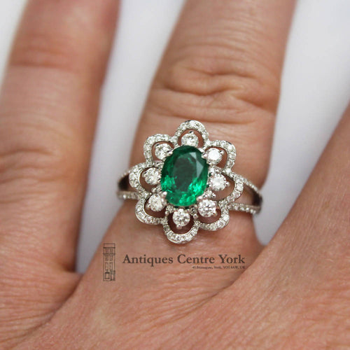 18ct White Gold Emerald & Diamond Fancy Cluster Ring