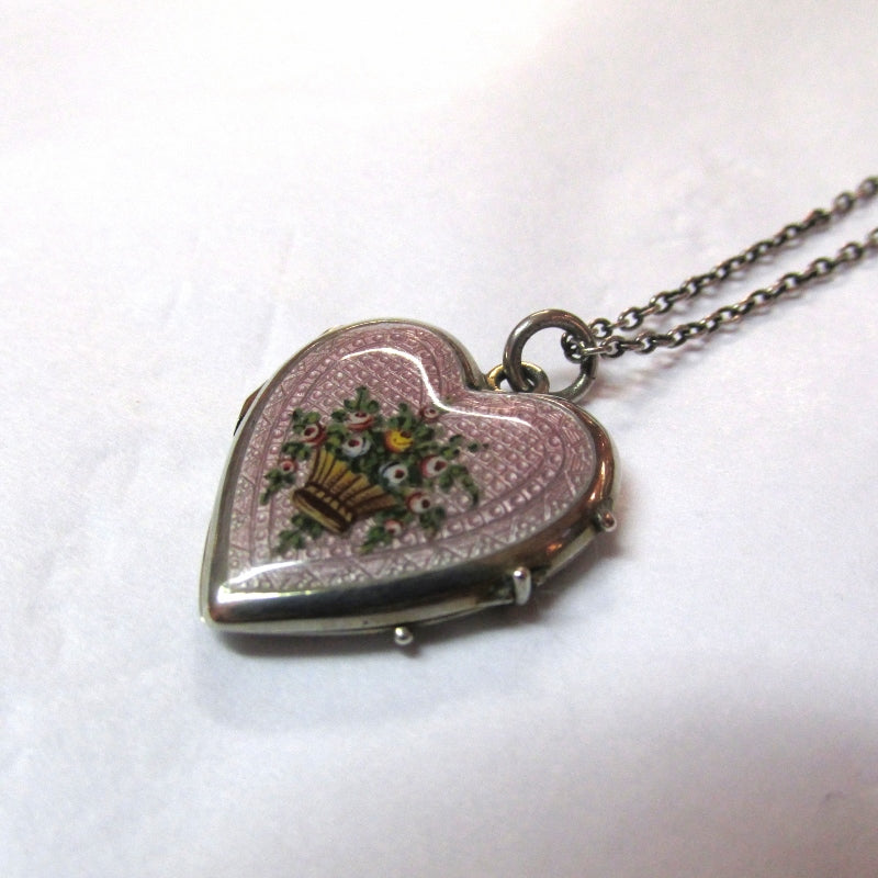 Art Deco Enamel Heart Locket on Silver Chain (SOLD)