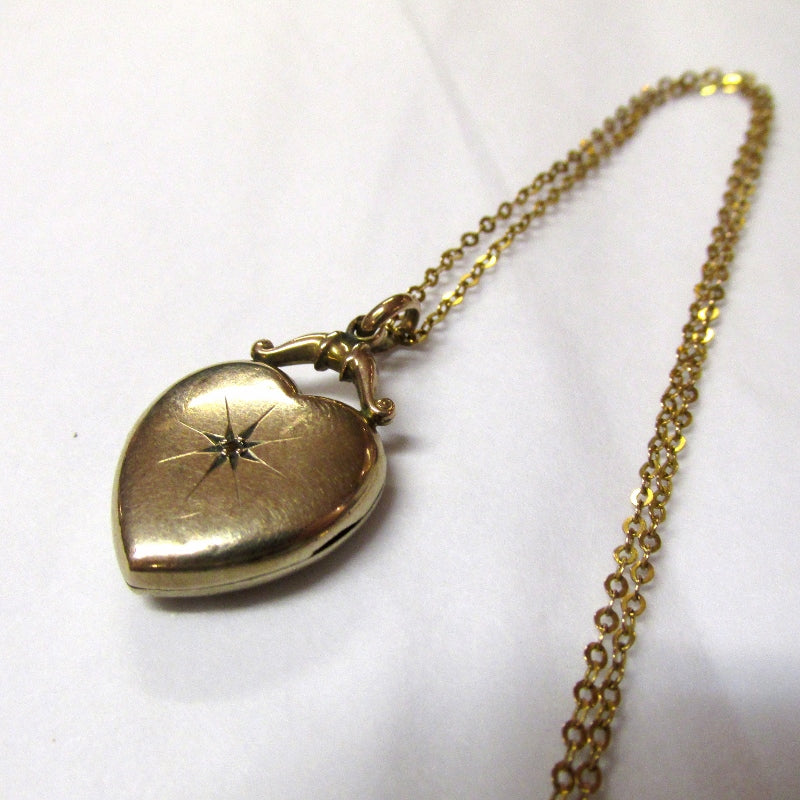 Antique 9ct Yollow Gold Back and Front, Diamond Heart Shaped Locket (SOLD)