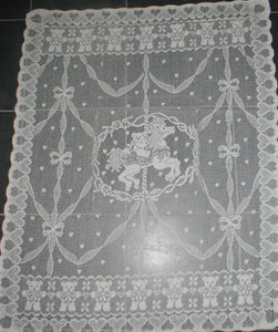 """Teddies Carousel"" Ivory Cotton Lace Curtain Panel - 30 x 38 Inches"