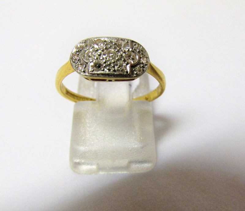 Art Deco 18ct Gold And Diamond Ring Size N