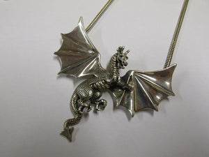 Silver Dragon Necklace 15 1/2 Inches