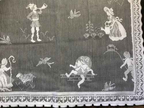 Nursery Rhyme- A Vintage White Cotton Lace Curtain Panel 36