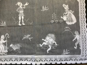 "Nursery Rhyme- A Vintage White Cotton Lace Curtain Panel 36""/24"" readymade"