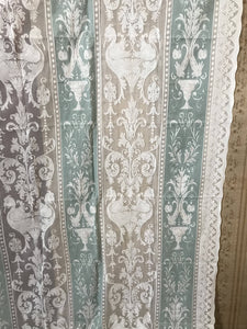 "Griffin madras duck egg and ivory cream cotton lace curtain panel - 66""/120"""