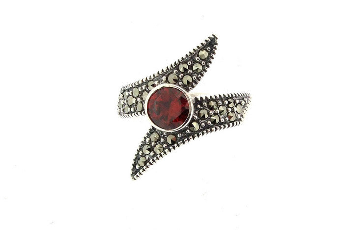 Silver Marcasite Red Ring