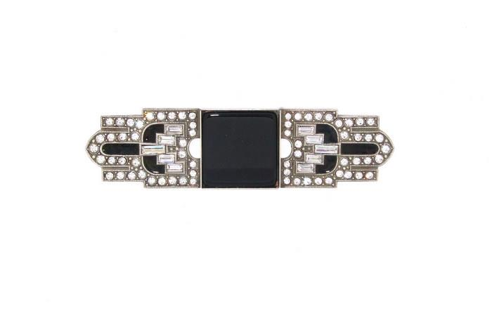 Silver Black Art Deco Brooch