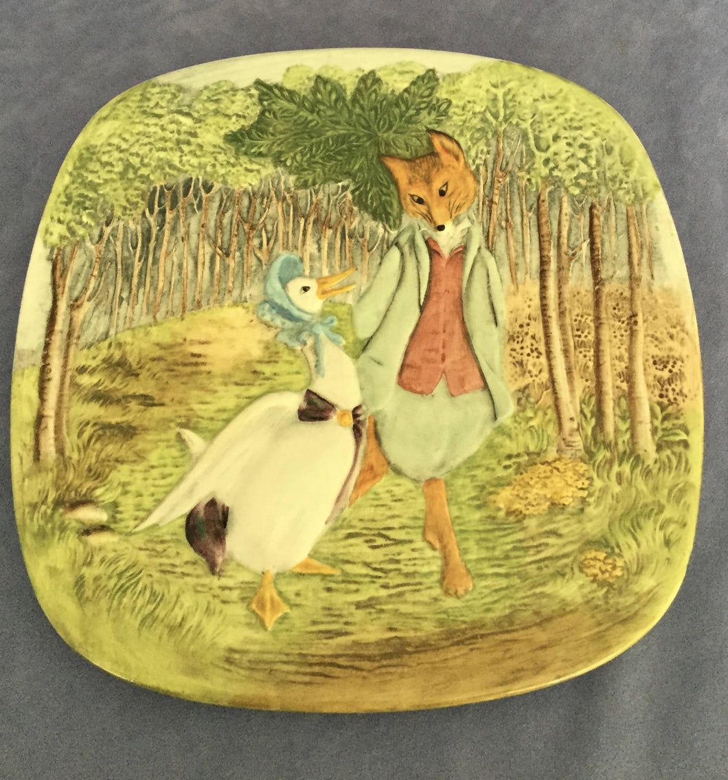 Beswick Jemima Puddleduck with Foxy Whiskered Gentleman Pottery plaque