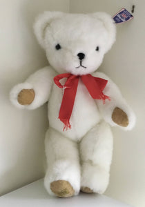 Merrythought Large White Teddy Bear. With name tag.