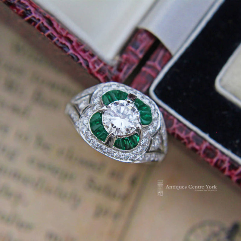 Handmade Platinum Emerald & Diamond Cluster Ring