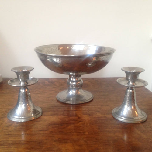 Arts and Crafts Manor Period pewter fruit bowl and candlesticks