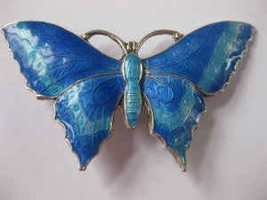 Art Deco Sterling Silver And Enamel Butterfly Brooch