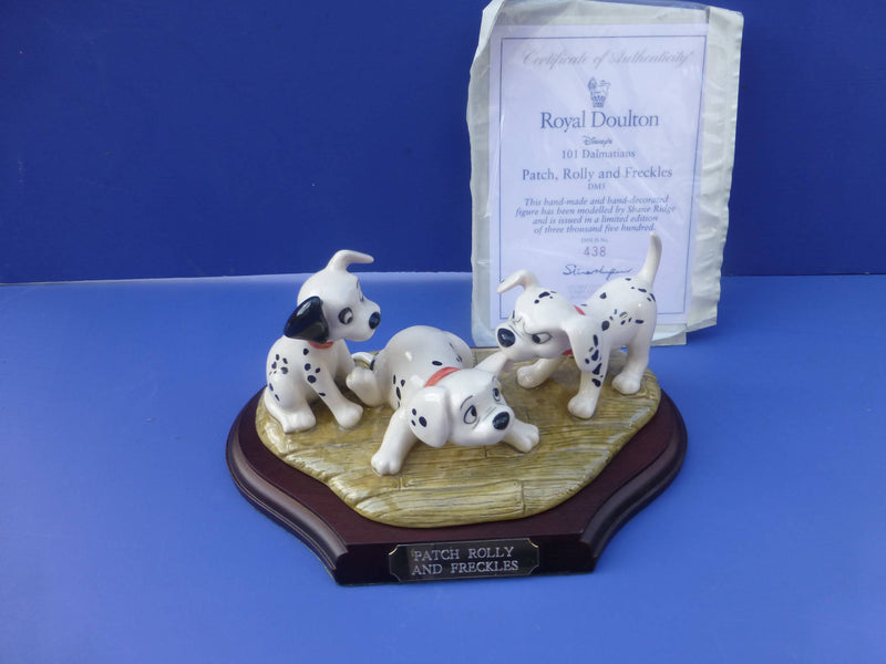 Royal Doulton Limited Edition 101 Dalmations Patch, Rolly and Freckles (Boxed)