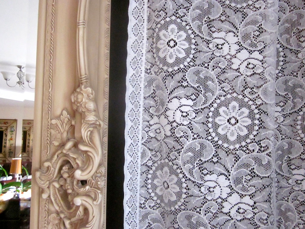 Edwina - c1910 period Style white Cotton Lace Curtain Panel 58
