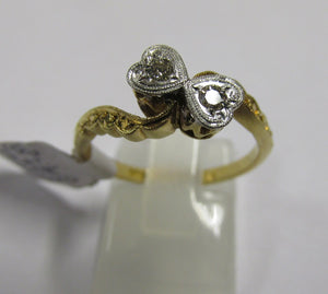 18ct Gold  & Platinum Two Stone Diamond Heart Twist Ring  C1940-50 Size M1/2