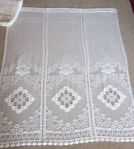 """Victoria"" Vintage Heritage Design white Pair Of Cotton Lace Curtain Panels - 34 x 54 Inches"