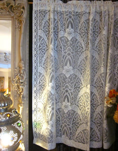 """Victorianna Rose"" Victorian Style Cream Cotton Lace Curtain Panel readymade 53"""