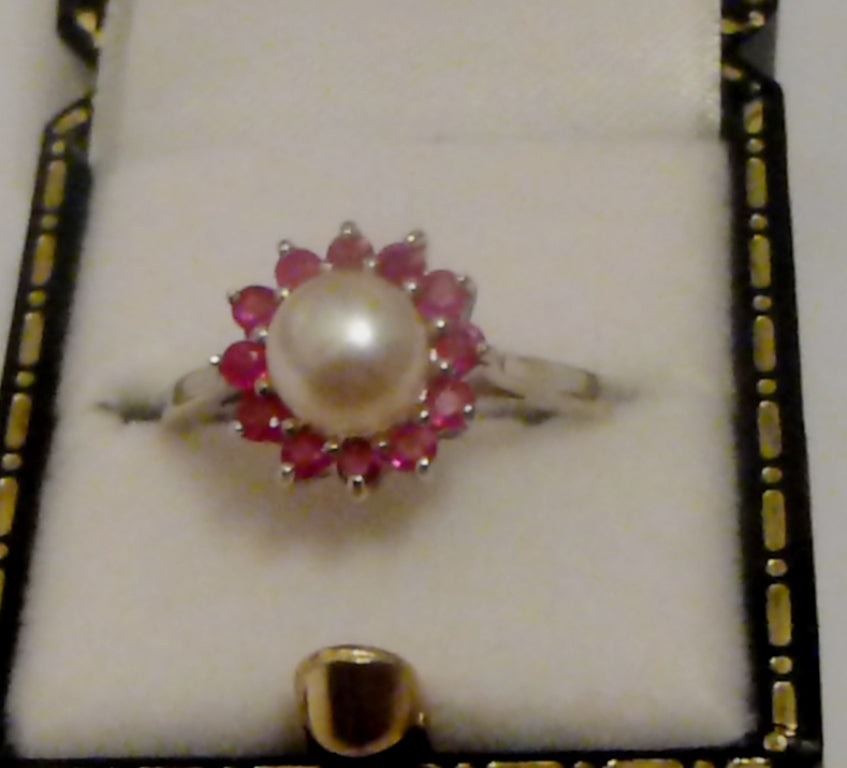 Silver Pearl and Ruby Ring - Size O