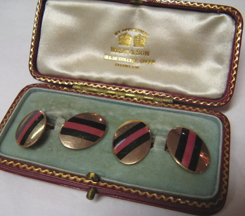 1930's Vintage 9ct Gold and Enamel Cufflinks