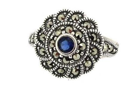 Marcasite Ring Sapphire Silver