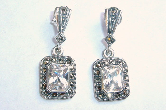 Silver Cubic Zirconia Marcasite Earrings Bridal
