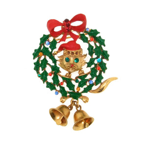 Butler & Wilson Christmas Wreath Cat Brooch Pin