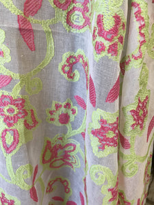 beautiful period design crewelwork pink and green madras Lace Curtaining Panel -to finish 68 x 144 Inches