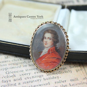 1950's 9ct Hand Painted Miniature Brooch