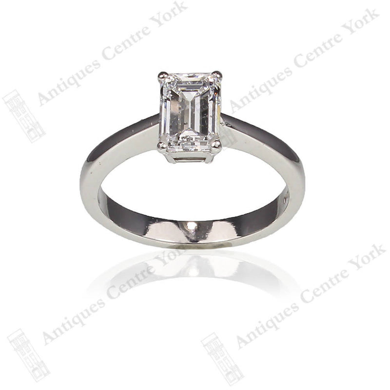 Platinum Certified 1.39cts Emerald-Cut Diamond Solitaire Ring