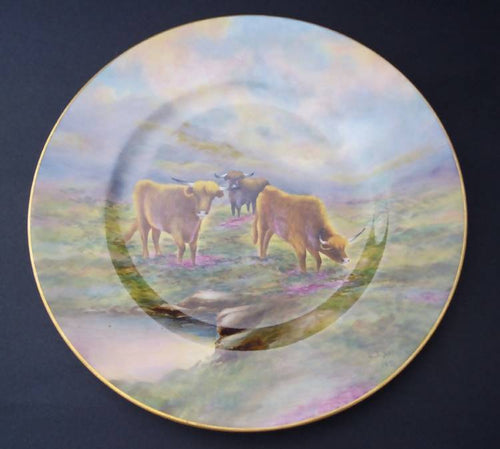 Royal Worcester Highland cattle Cabinet Plate 1971