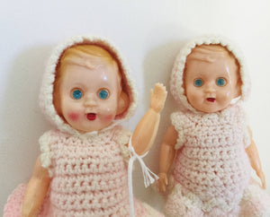 Vintage Celluloid Twin Dolls Jointed Hong Kong 6""