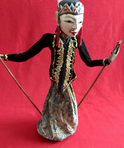 Indonesian 'Waygang' rod Puppets of Prince & Princess, with oak display stands.