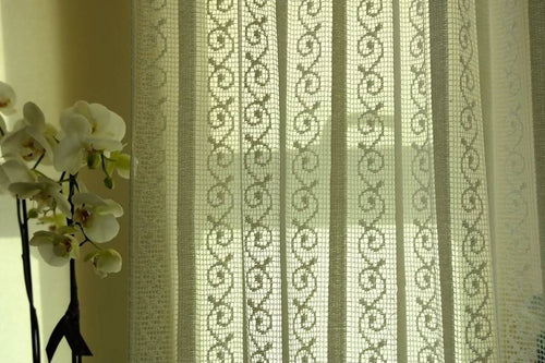Lille stripe - C1930s Arts & Crafts Cream Cotton Lace Curtain Panelling 56
