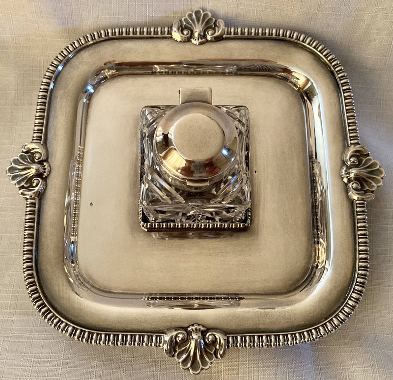 Silver Plated Inkstand in the Georgian Style. Barker Ellis of Birmingham.