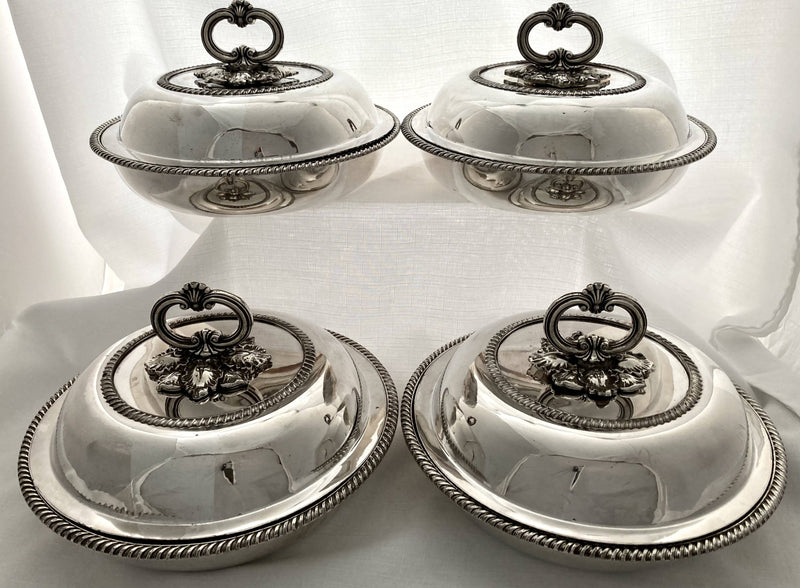Georgian Set of Four Old Sheffield Plate Circular Entree Dishes & Covers, circa 1810 - 1830.