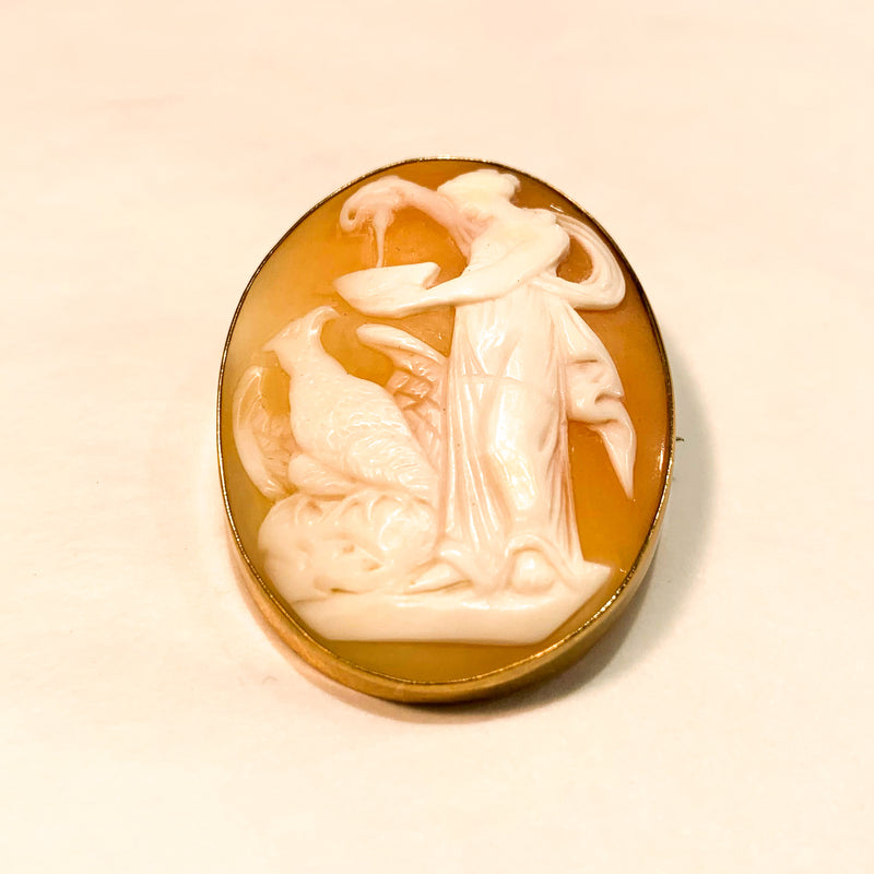 Hebe Goddess of Youth and Zeus in Guise of Eagle Cameo Brooch