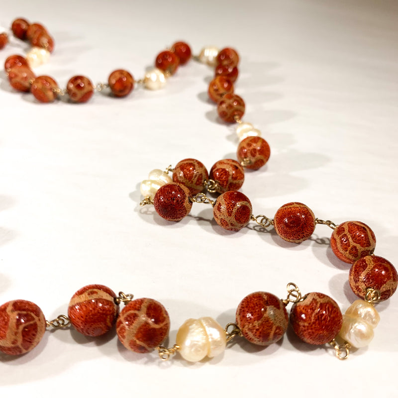 9ct Gold Baroque Pearl and Polished Sponge Coral Necklace