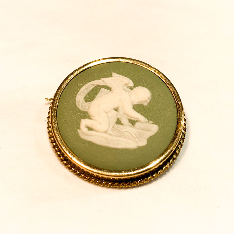 Vintage Wedgwood Green and White Cameo Brooch
