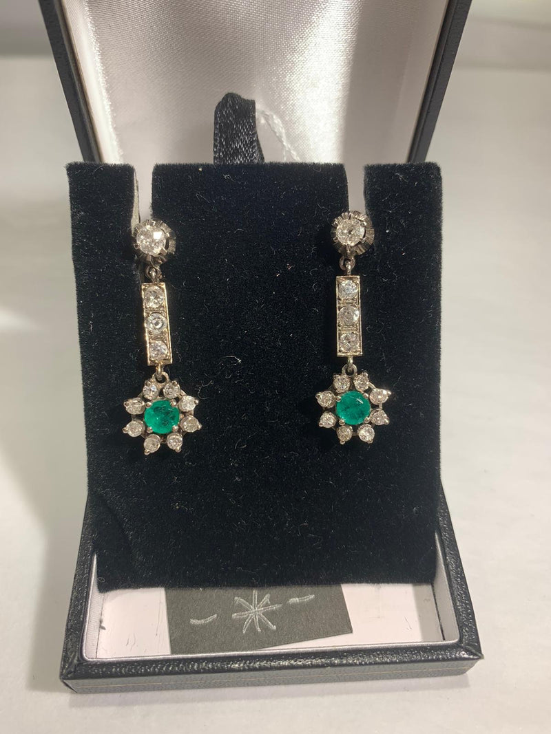 Period Drop Earrings with Emerald and Diamonds