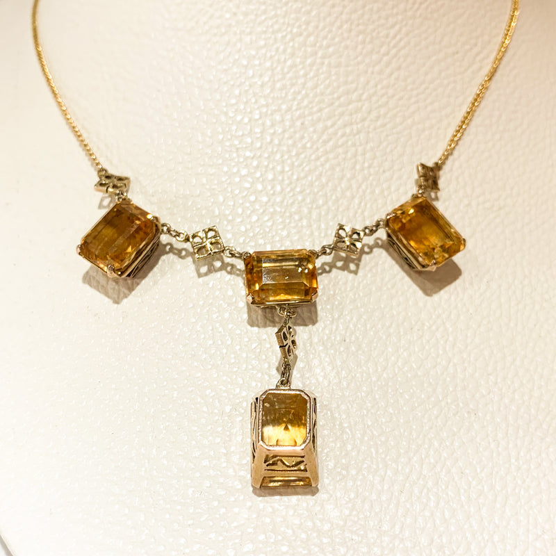 Period 15ct Gold Citrine Necklace