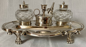 Georgian Style Silver Plated Inkstand with Twin Inkwells & Taperstick Holder.