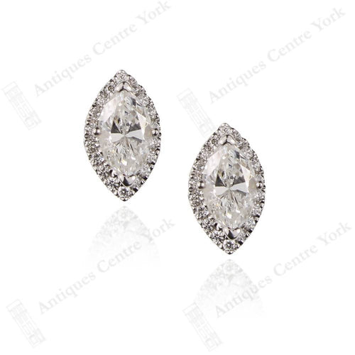 18ct White Gold Marquise Diamond 0.76ct Halo Cluster Earrings