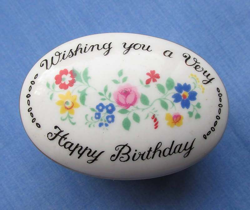 Crown Staffordshire Wishing You A Very Happy Birthday Gift Box/Bone China