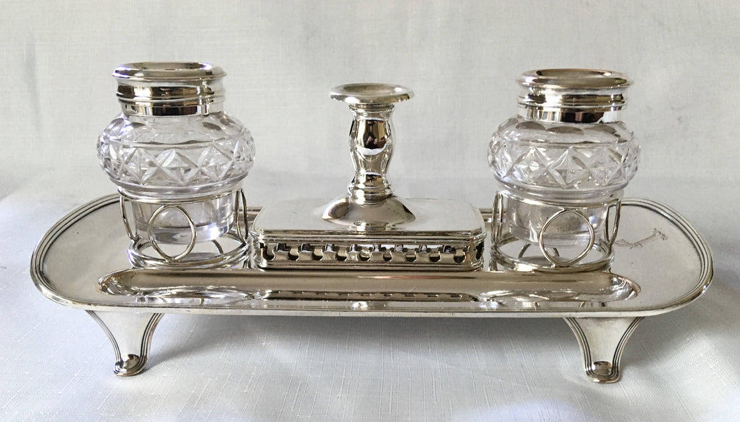 Georgian, George III period, Old Sheffield Plate inkstand with wafer box and taperstick. Circa 1800.