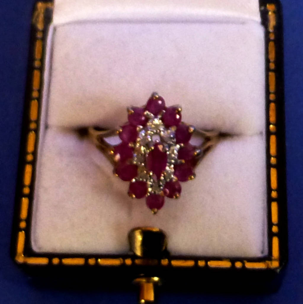 9ct Gold Ruby and Diamond Ring Size M