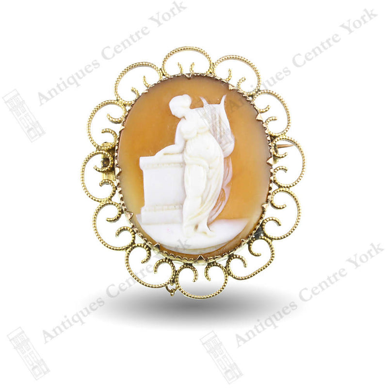 Vintage 9ct Mourning Cameo Brooch