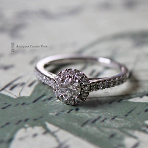 18ct White Gold Diamond Halo Cluster Ring