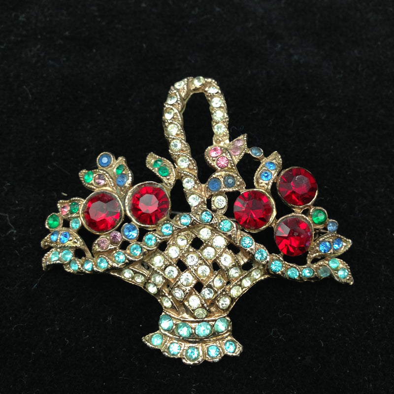1950's basket of flowers brooch