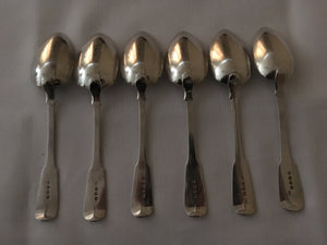 Georgian, George III, set of six silver dessert spoons. London 1820 Solomon Royes. 8.8 troy ounces.